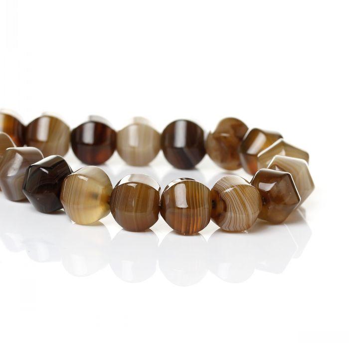 Prix pour DoreenBeads créé Madagascar gem pierre Lâche Perles Lanterne Forme Brun Facettes Propos de 11x10mm, Trou: 1mm, 36.5 cm, 1 Brin