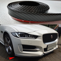 3PCS Universal PU Carbon Fiber Boky Kit ,Front lip, Side Skirt Trim 2.5 Meters for Jaguar Audi BMW VW Benz Toyota Infiniti