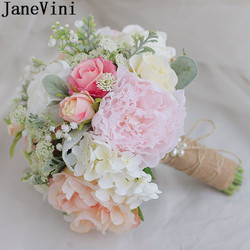 JaneVini 2018 Pearl Wedding Bouquets Bridal Artificial Flower Bouquets For Brides Silk Peony Wedding Hand Bouquet Flores Boda