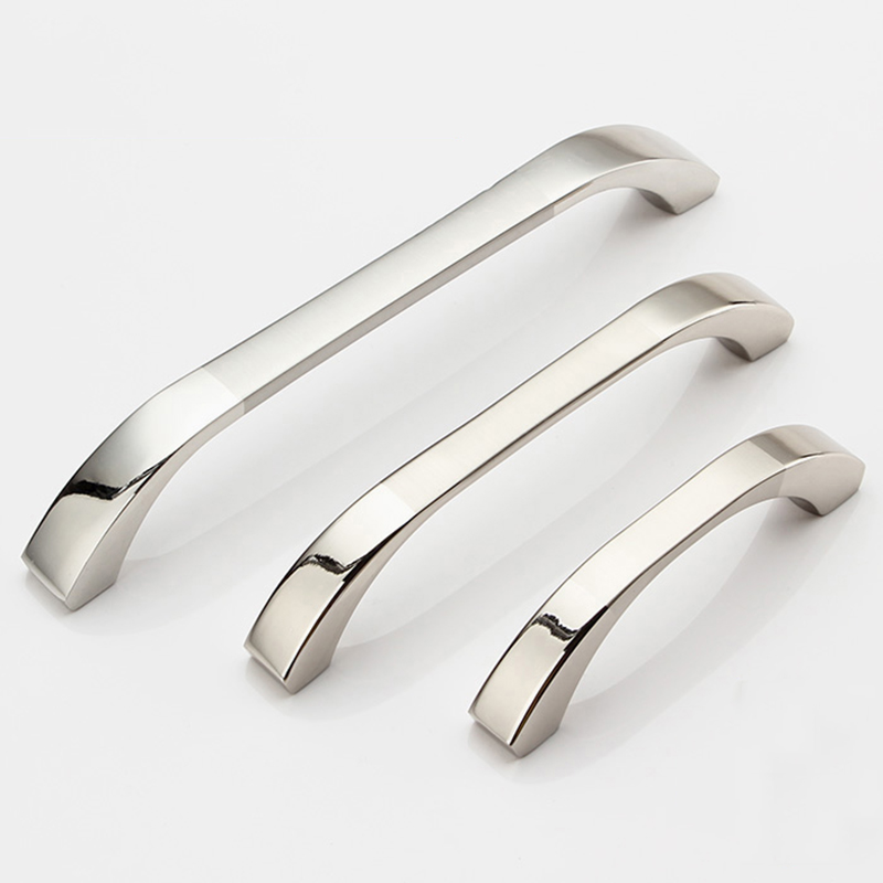 Hole Pitch 64mm 96mm 128mm 160mm Zinc Alloy handle drawer handle furniture handle cabinet handle glossy side HM54 hole pitch 64mm 96mm 160mm zinc alloy handle modern handle kitchen furniture handle bedroom drawer handle silver side