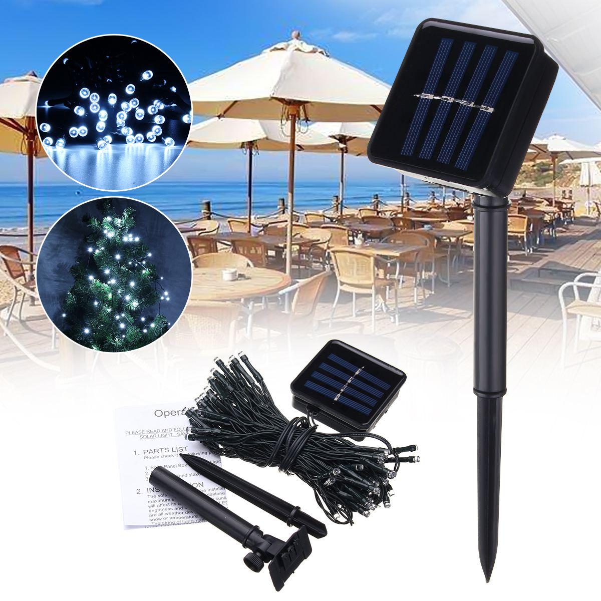 Solar Powered Patio Umbrella 72 LED String Light LED String Fairy Garden Lights Cool White Lighting for Outdoor Lighting Decor