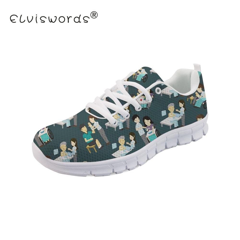 ELVISWORDS dentiste impression femmes chaussures plates adolescents dentifrice motif respirant baskets pour filles conception drôle chaussures