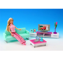 case for Barbie doll suit every family living room house furniture accessories living room TV sofa table lamp girl gift