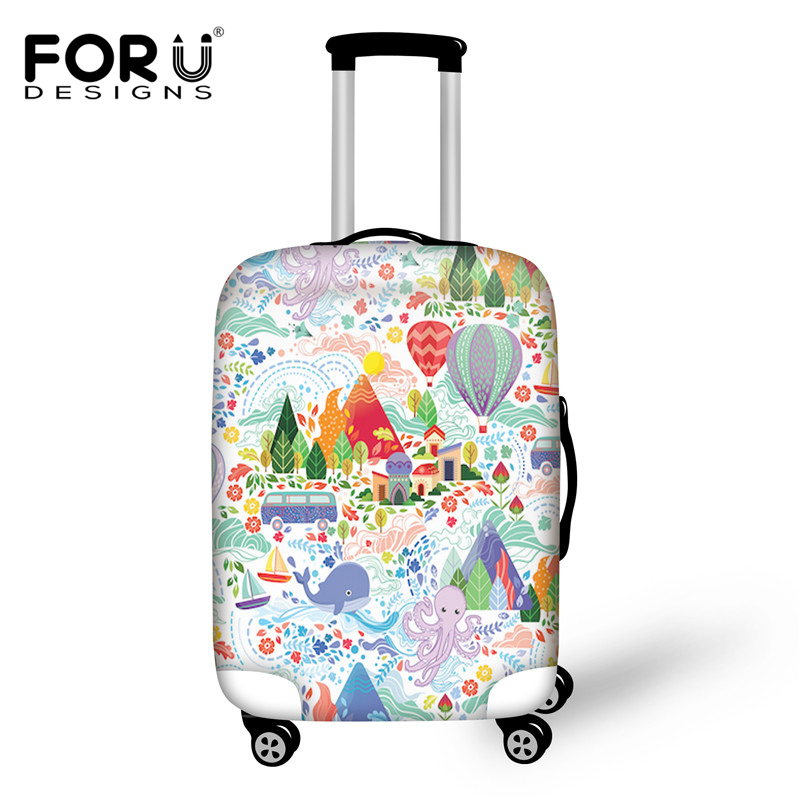FORUDESIGNS 3D Printed Luggage Protective Covers Elastic Dust Rain Cover for 18-30 Inch Trunk Case Travel Trolley Suitcase Cover