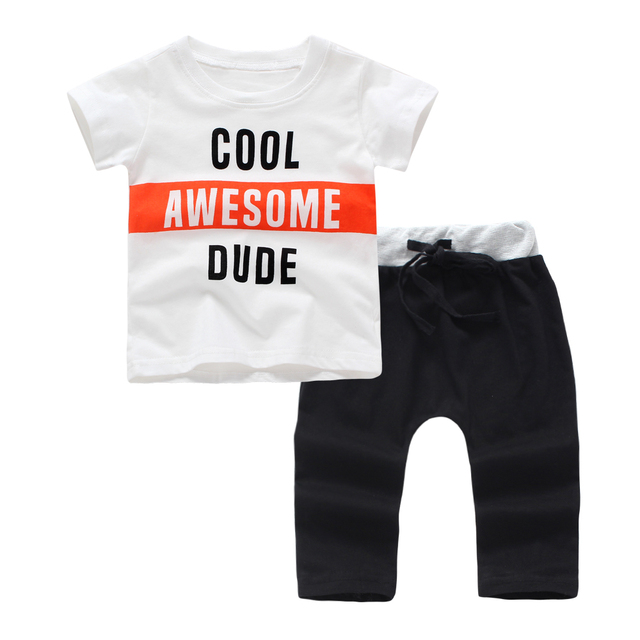 51d29a243a6 2019 Newly arrived summer clothes baby boy clothing set cool short sleeve T  shirt + pants 2pcs sport suit newborn infant Outfits