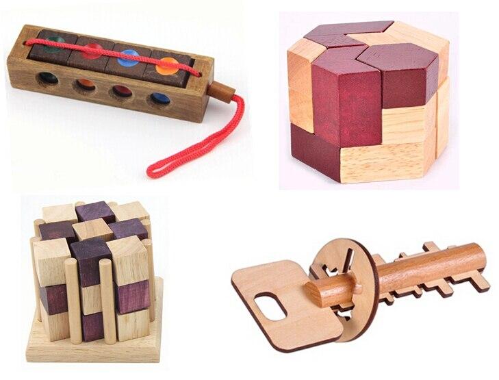 49b88c40f08a73 4/lot klasyczne 3d drewniane puzzle iq łamigłówki drewniane puzzle gry dla  dorosłych dzieci