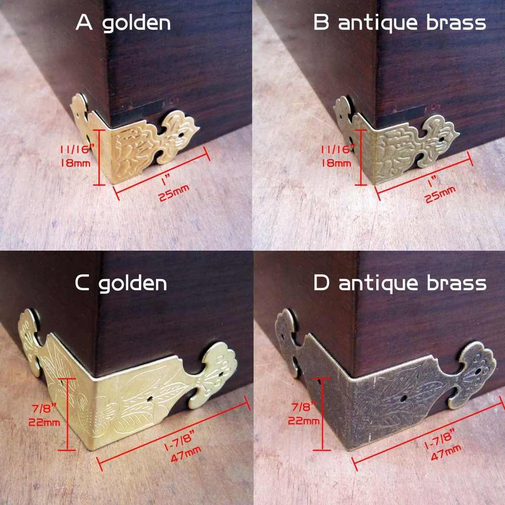 12X Decorative Antique Brass Golden Jewelry Chest Wine Gift Box Wooden Case Table Desk Edge Cover Corner Protector Guard + Nails