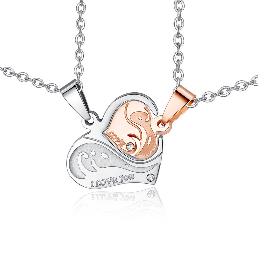 Hot sell personalized Stainless Steel Heart Shape Puzzle  Couple Pendant Engagement Necklace for valentines romantic gift 1