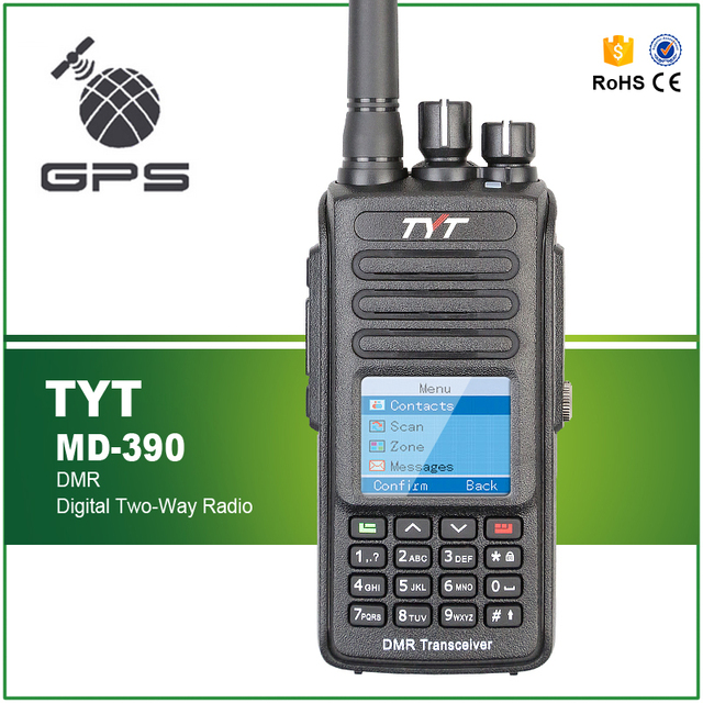 TYT MD 390 DMR נייד FM משדר UHF 400 480MHz GPS שתי דרך רדיו IP67 עמיד למים רדיו + תכנות כבל CD ואפרכסת