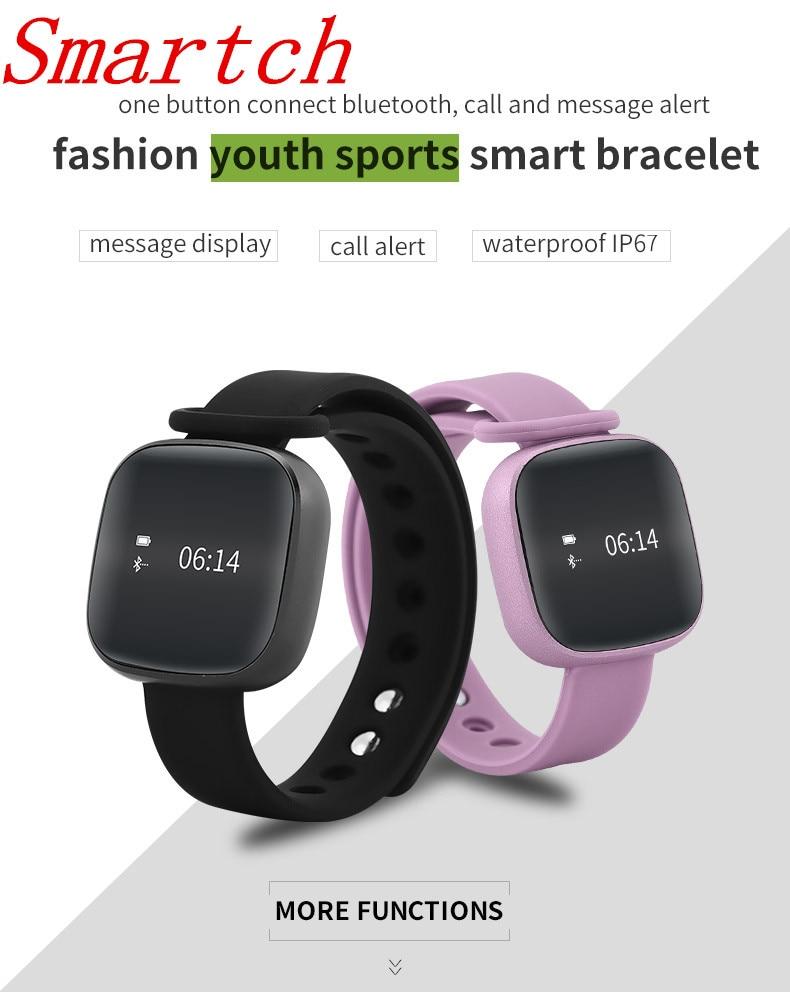 Smartch Smart Bracelet V8 Pedometer Fitness Tracker Smart Band Heart Rate Blood Pressure Monitor Smart Wristband