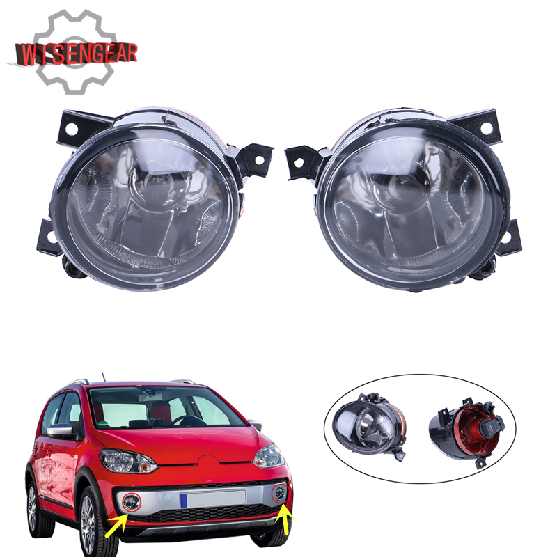 Front Fog Light Foglights For VW Golf 5 Jetta TIGUAN GTI MK5 EOS R32 Left & Right Foglamp Convex Lens with H11 Bulbs #P90 car light source front convex lens fog lights lamp for vw volkswagen jetta golf mk6 tiguan fog light 5kd941699 5kd941700