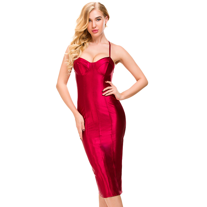 Sexy Padded Bra Bodycon Midi Dress V Neck Sleeveless Split Back Cross Straps Gold Wine Red Knee Length Party Dress
