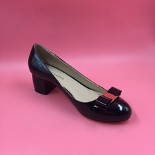 Black Patent Leather Women Pumps Round Toe Mature Style Slip-on Bow Ladies Pump Shoes Square Low Heels Size 38 Ladies Shoes