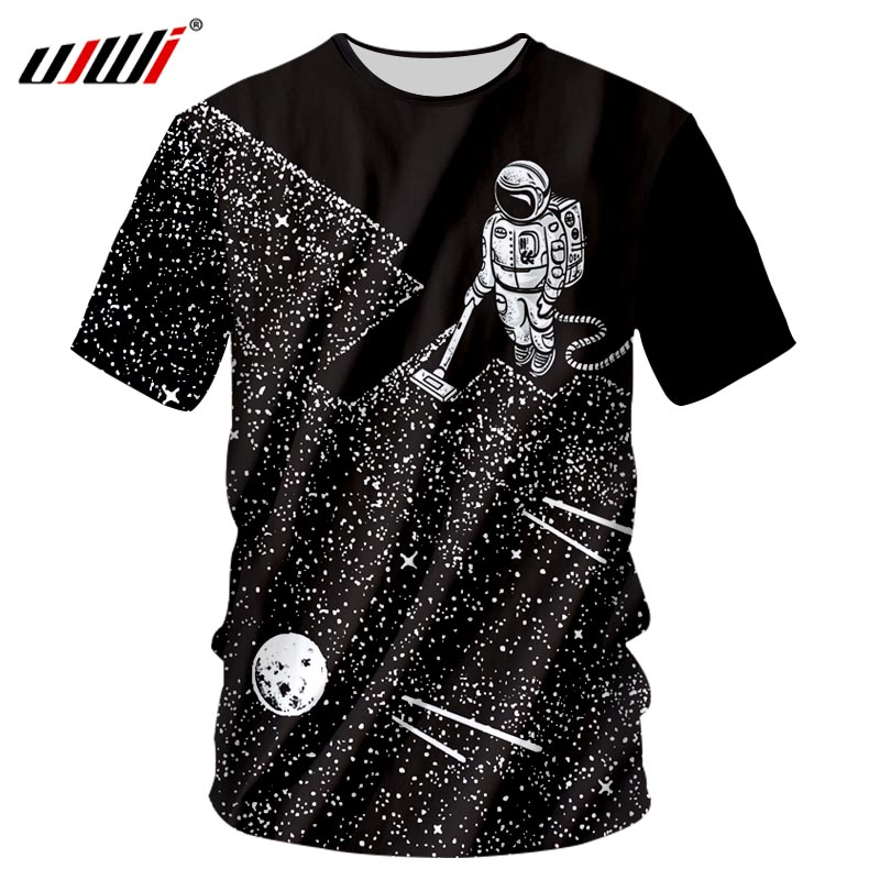 UJWI Brand 2018 Summer New Space Astronaut Casual Style Men's 3D Printing T Shirts Fashion O-neck Hip-Hop Pluse Size 7xl T-shirt