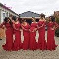 Sirena Africano Largo de dama de Honor Vestidos de Satén Mangas Llenas 2017 Vino Rojo Barco Cuello Piso-Longitud Más Tamaño vestidos De Novia Parte