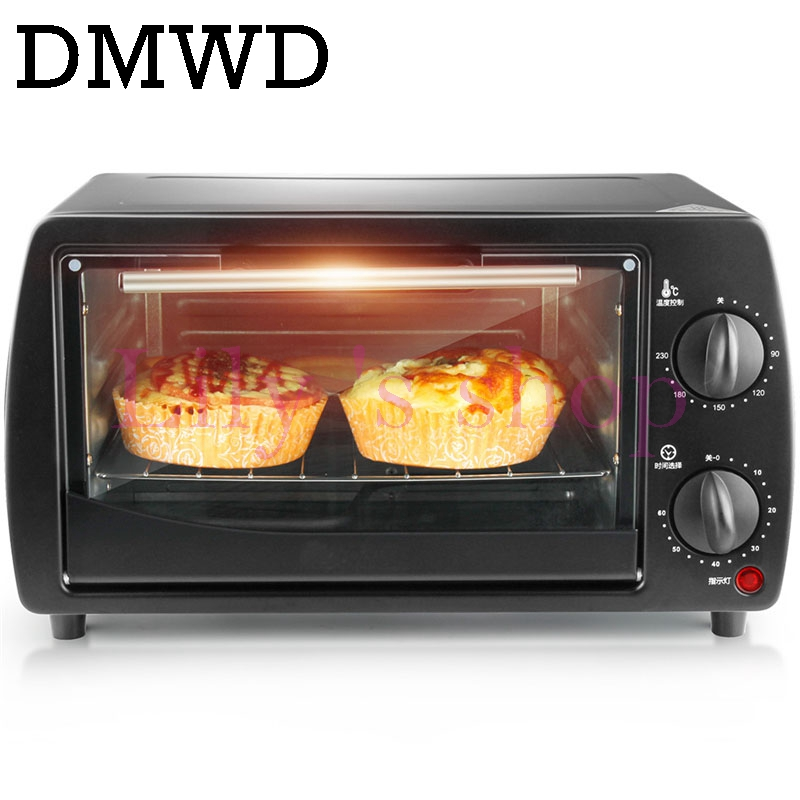 DMWD Mini household Electric oven Multifunction Pizza cake Baking Oven with 60 Minutes Timer Stainless Steel