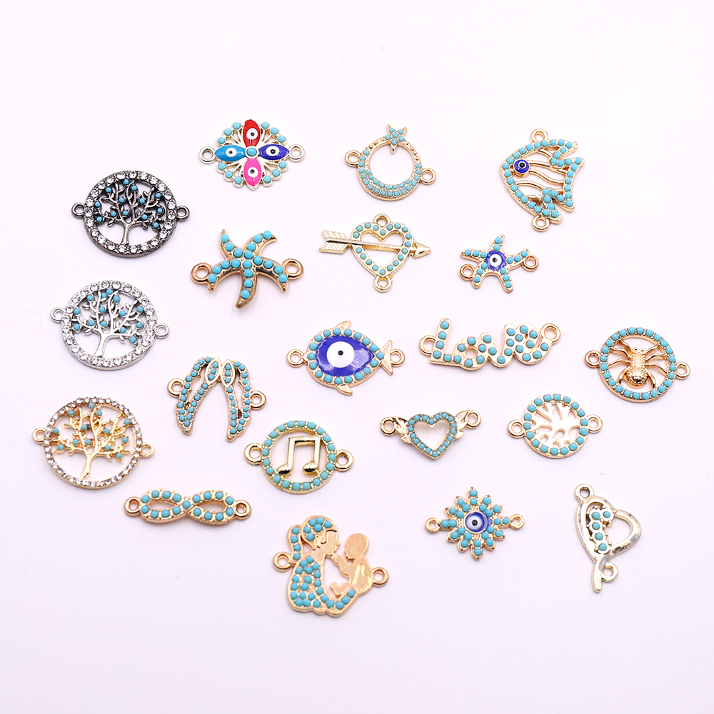 10pcs Jewelry Connectors Charms With Acrylic Decoration Jewelry Accessories For Necklaces Bracelets Jewelry Making Wholesale