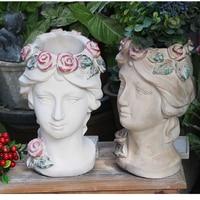 Antique European Portrait Sculpture Goddess Art Vase Man Head Flowerpot Multi Sex Green Plant Basin Creative Retro Decoration