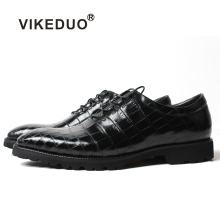Vikeduo 2019 Summer Office Formal Shoes For Men Fashion Black Crocodile Leather Wedding Handmade Mens Footwear Zapatos