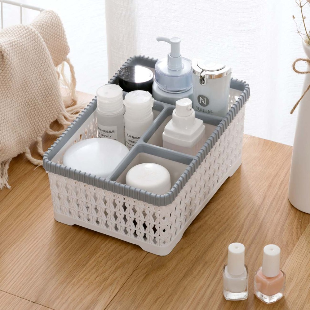 OTHERHOUSE Makeup Organizer Cosmetic Storage Box Case Container Lmitation Rattan Desktop Storage Box Bedroom Bathroom Organizer