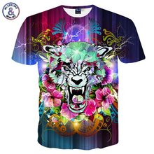 Mr.1991INC Fashion Brand T-shirt Men/Women Summer 3d Tshirt Print Lightning Flowers Tiger T shirt Tops Tees