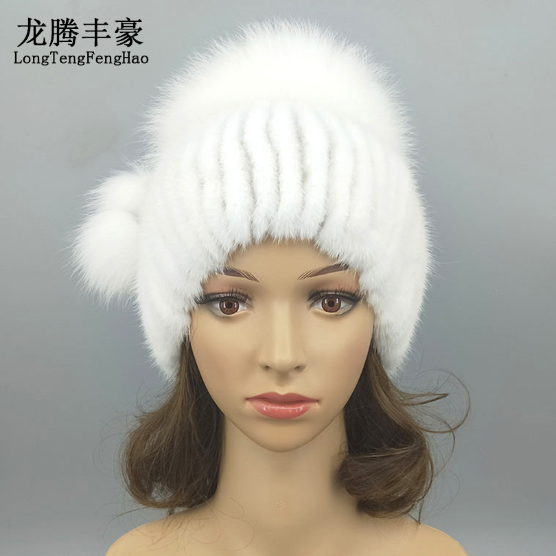 Warm Real Mink Fur Women's Cap Fashion Stripe Hat With Genuine Fox Fur Ball Pompom Female Winter Real Fur Caps Knitting Mink Hat