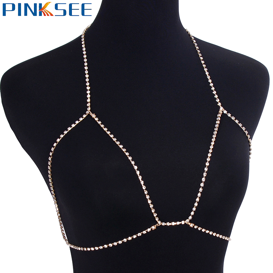 8347ab8ce8 US $2.79 30% OFF|Gothic Sexy Crystal Bra Slave Harness Chain For Women Full  Rhinestone Bikini Beach Necklace Jewelry 2018 New-in Chain Necklaces from  ...
