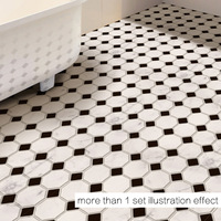 50x50cm Simple floor posts black and white mosaic waterproof anti skid background decoration