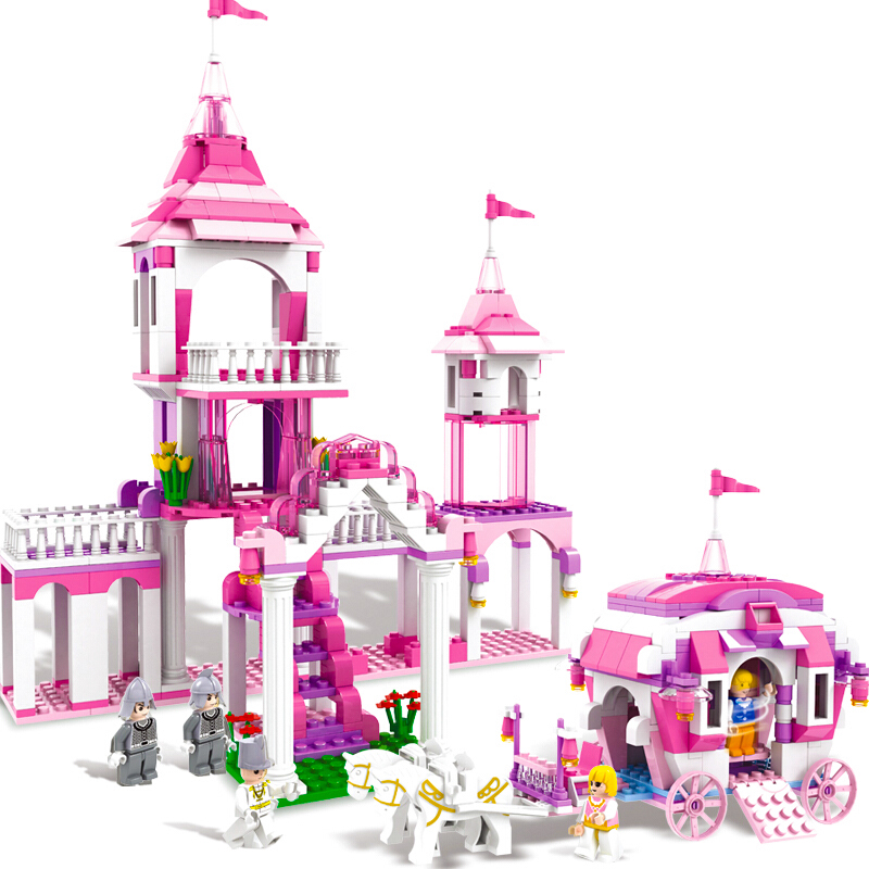 512pcs Cinderella Castle Disguise Princess Dream Girl Series Educational Building Blocks ...