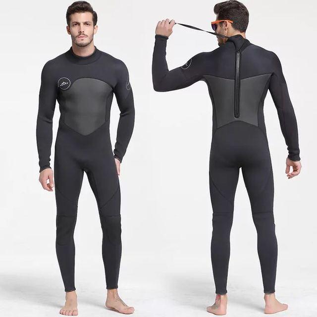 Erkek 5mm siyah/gri Wetsuit tüplü dalış sörf Fullsuit tulum Wetsuits neopren dalış elbisesi erkekler 5 milimetre