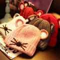 Cute Girls Winter Hats Lovely Solid knitted Wool Hats Cap 1 to 6 years Baby girls boys kids children lovely cat ears pink red