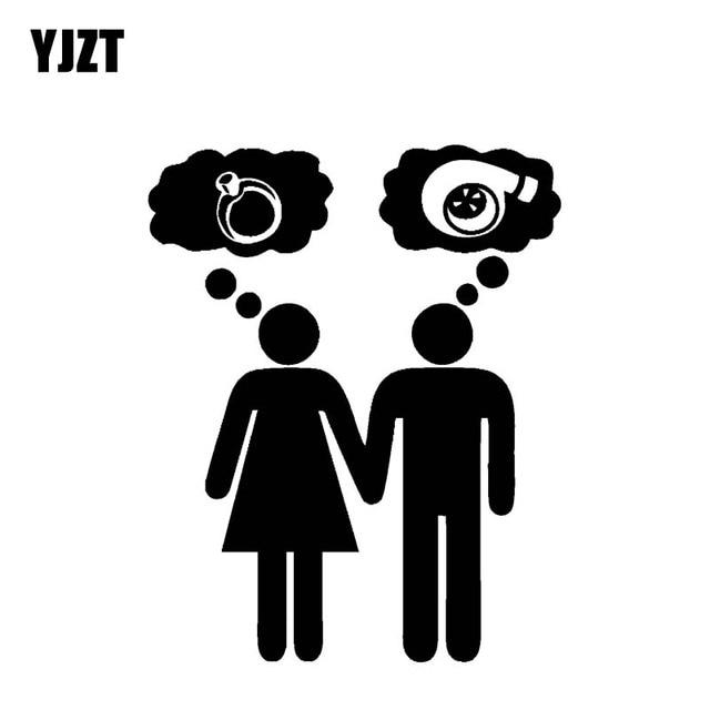 YJZT 14.4 CM * 18 CM Menina Cara Turbo Anel Engraçado Vinyl Decal Adesivo de Carro Preto/Prata C10-00847