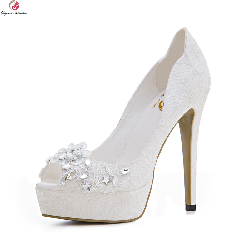 Original Intention Elegant Women Wedding Pumps Fashion Lace Open Toe Thin High Heels Pumps White Shoes Woman Plus US Size 3-10.5 bowknot pointed toe women pumps flock leather woman thin high heels wedding shoes 2017 new fashion shoes plus size 41 42