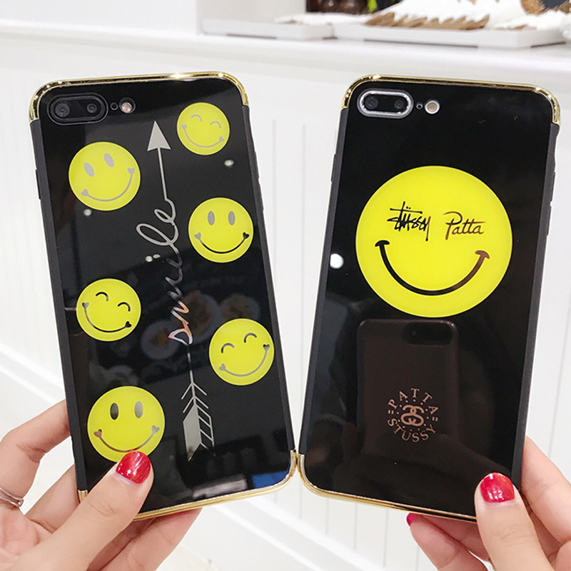 Fashion Clear Smiley Faces Emoticon Emoji Mirror Case for capinhas iphone 6 6S 7 8 X Plus Soft Tempered Glas Cover Expression