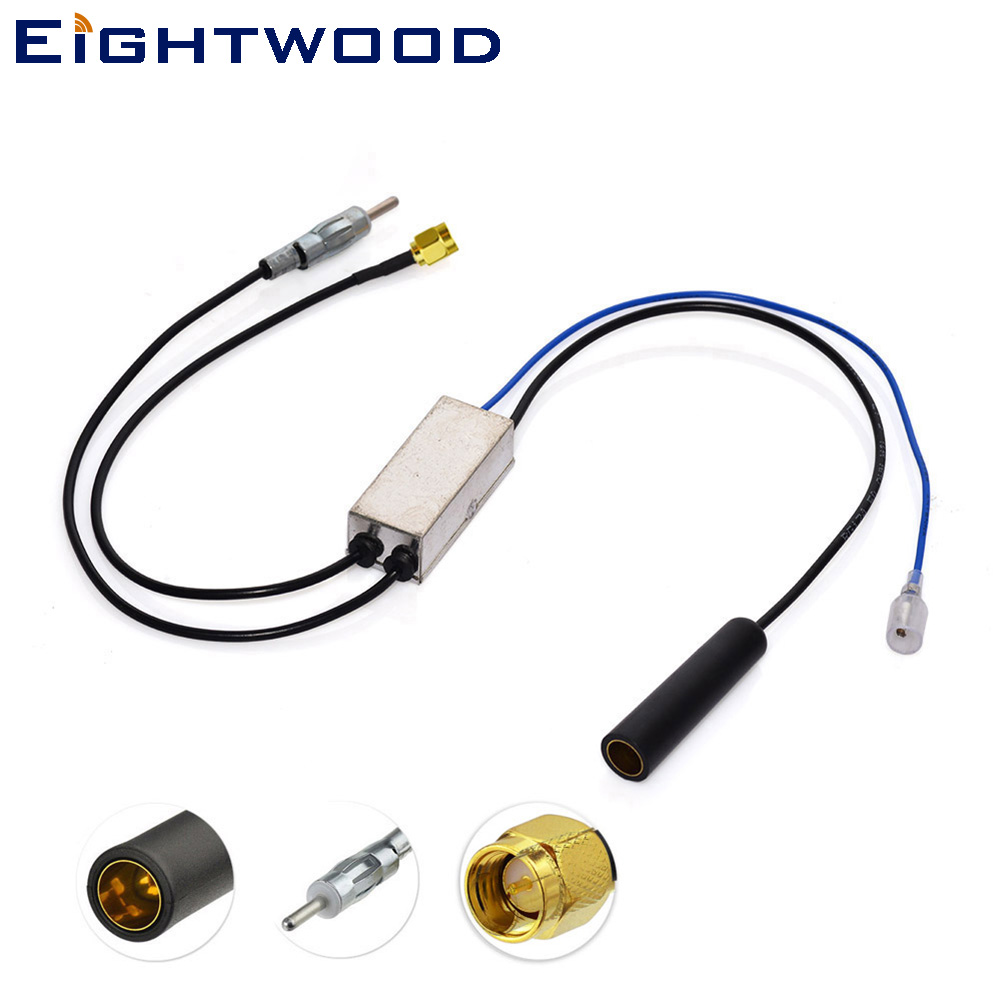 Eightwood Conversion FM/AM to FM/AM/DAB Car Radio Aerial Converter/Splitter with SMA Connector for Clarion DAB302E