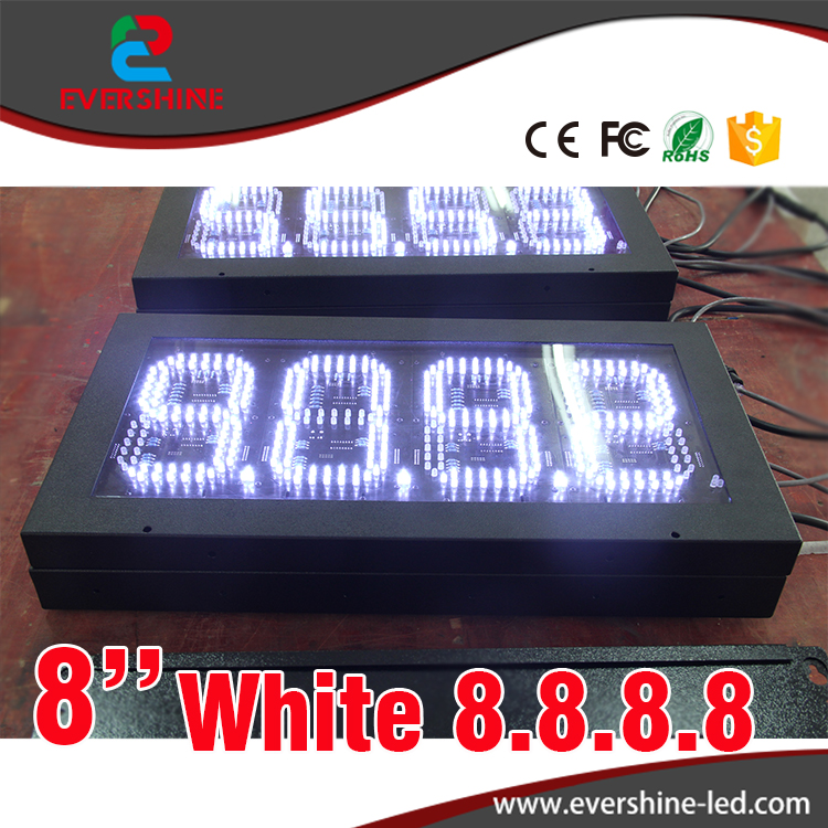 7 Segment Oil Gas fuel white 8'' digital numbers led petrol station price display sign outdoor waterproof board 100 pcs ld 3361ag 3 digit 0 36 green 7 segment led display common cathode