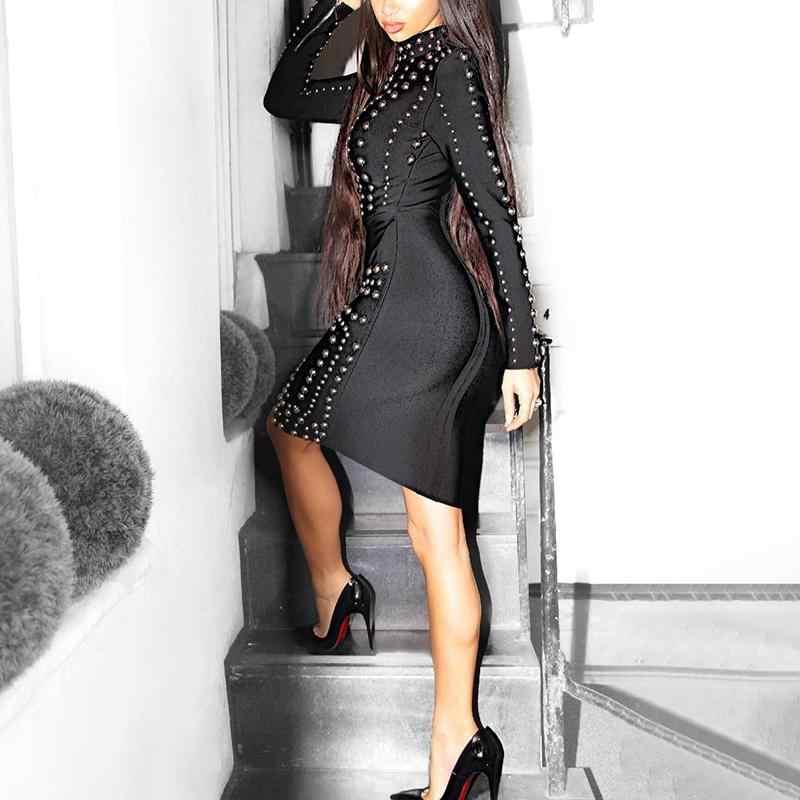 Для женщин сексуальные гофрированные ажурные Коктейльные мини-Украшенные стразами Одежда для клуба, для вечеринки платья женские черные украшенное стразами, с длинными рукавами детское платье