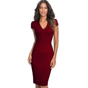 Image 3 - 素敵な永遠のヴィンテージエレガントなソリッドカラー花着用して作業するジャカード vestidos ボディコンオフィスシース女性ドレス B435