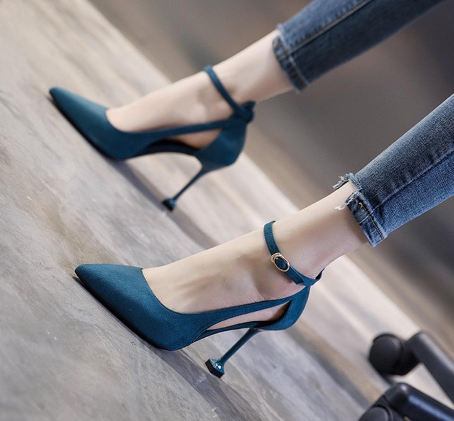 La Sandales Version De Mode Printemps Noir Boucle Talon bleu Sharp Nouveau Mince Automne Haute Accrocheur Marine Coréenne Bouche Mot Et q1wO7ax1v