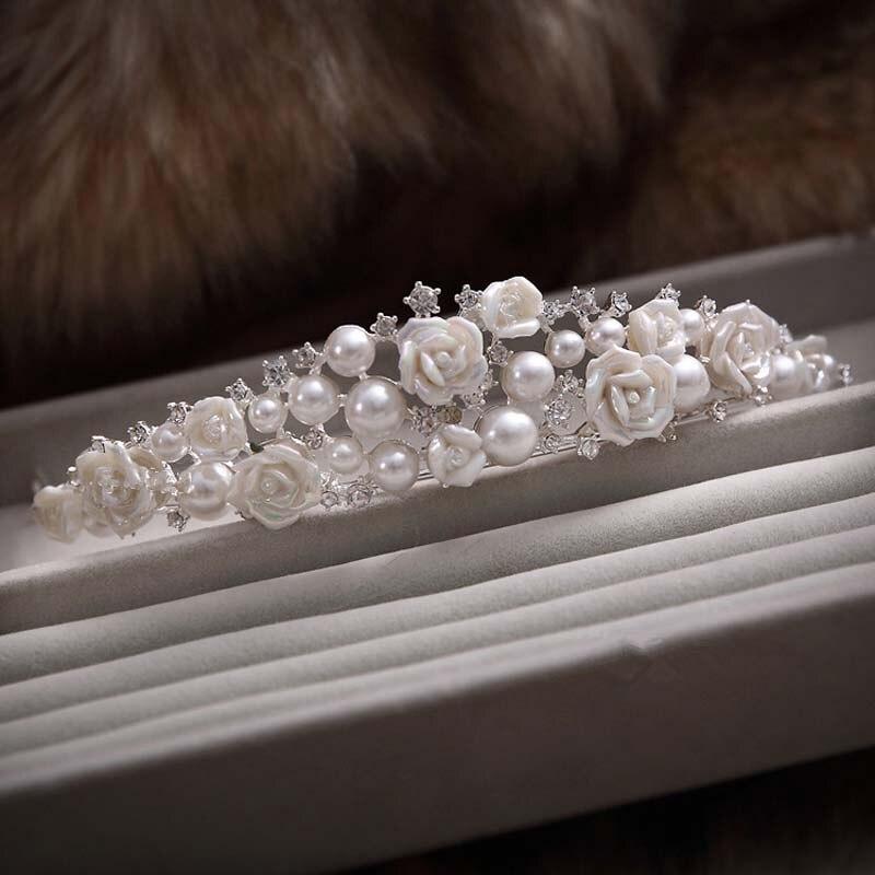 TREAZY Gorgeous Ivory Pearl Crystal Ceramic Flower Wedding Crown Tiara Bridal Hair Jewelry Women Hair Accessories