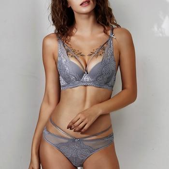 shaonvmeiwu Autumn winter sexy belt lace bra set womens underwear collection gathered thin under thick