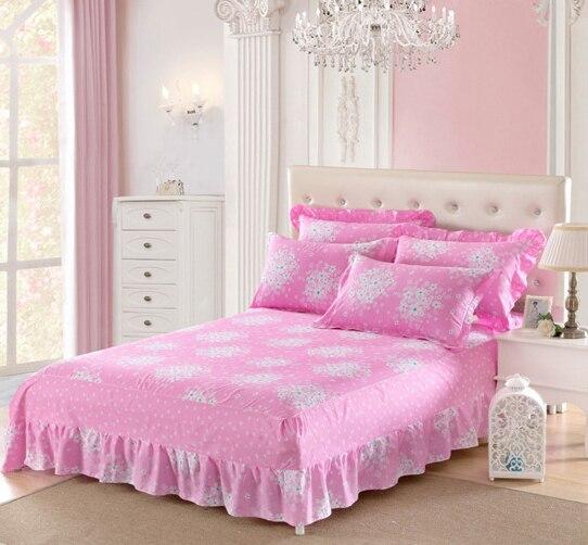 couvre lit complet Rose 1 pcs fleurs Coton lit jupe couvre lit lits complet reine  couvre lit complet