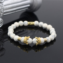 Fashion Micro Pave CZ Crown Charm Bracelet Jewelry Natural White Howlite Stone Bead Elastic Bracelet For Women Men цена