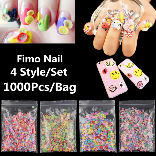 Fimo Canes 3d Stickers Decals Voor Nail Art Polymeer Klei Fruit