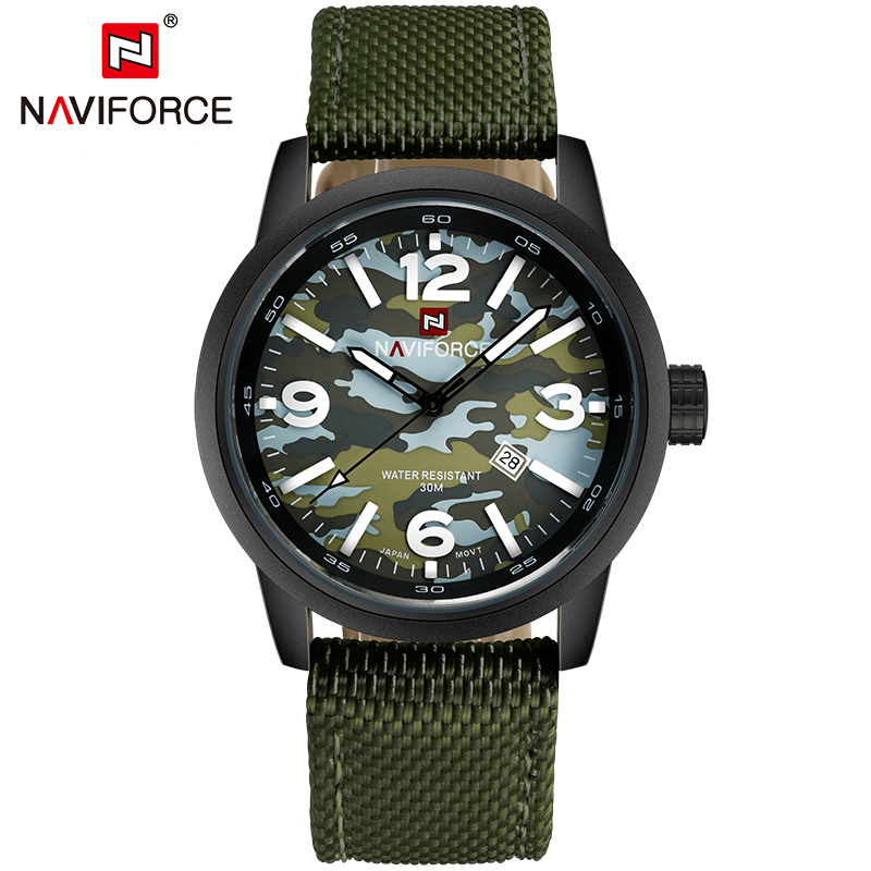 NAVIFORCE Top Luxury Brand Camouflage Men Sport Watches Army Military Quartz Wristwatch Waterproof Male Clock Relogio Masculino xinge top brand luxury leather strap military watches male sport clock business 2017 quartz men fashion wrist watches xg1080
