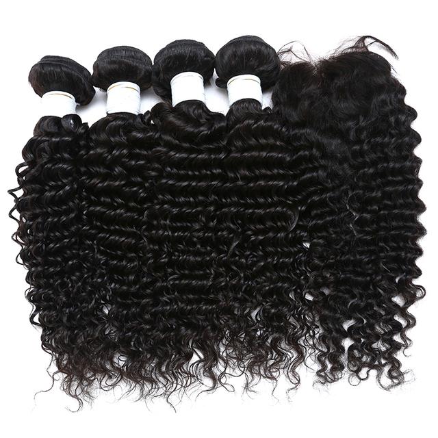 Brazilian Deep Wave With Closure 3or4 Human Hair Bundles With Closure Brazilian Virgin Hair With Closure Curly Hair With Closure