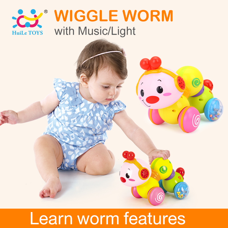 HUILE TOYS 997 Creeping Worm Lovely Musical Brinquedos Bebe Worm Press function with music & light Learning Toys for Children стоимость