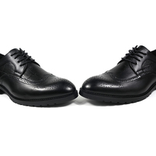DXKZMCM 2018 Men Formal Shoes Men PU Leather Breathable Brogue Dress Party Office Brown Oxford Shoes
