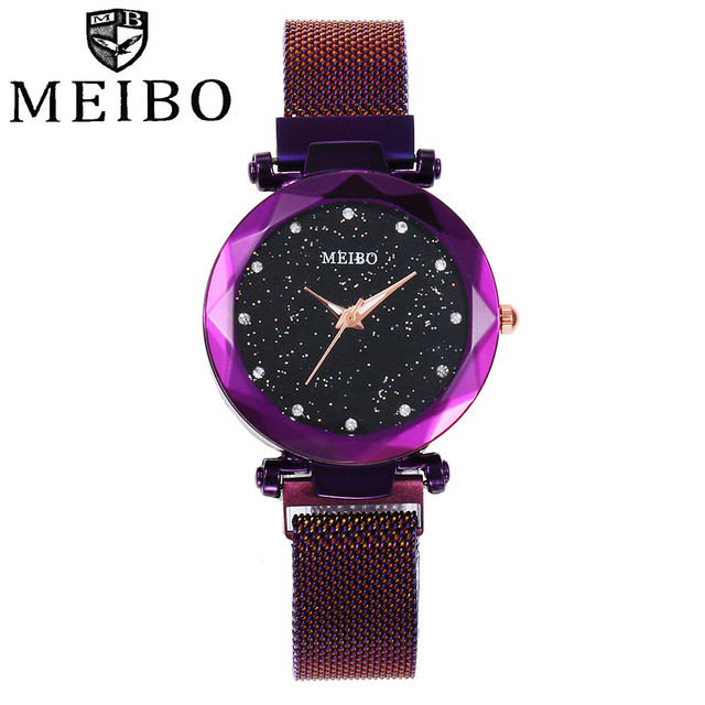 MEIBO Womens Watches Alloy Crystal Leather Bracelet Small Wrist Watch Clock Wome