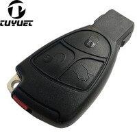 Yedek 3 Düğmeler akıllı anahtar Kutu FOB Kabuk Ile Pil Tutucu Klip ile Mercedes Benz Için logo + itmeli anahtar